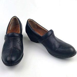 Born Leather Slip On Clogs Cuba heel